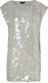 Light Grey/Multi Mick Dress - style: shift; length: mini; neckline: round neck; sleeve style: capped; pattern: plain; secondary colour: silver; predominant colour: light grey; occasions: evening, occasion; fit: straight cut; fibres: polyester/polyamide - 100%; sleeve length: short sleeve; pattern type: fabric; texture group: jersey - stretchy/drapey; embellishment: sequins