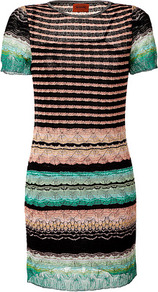 Black/Cinnamon Multi Rayon Cotton Dress - style: shift; pattern: horizontal stripes; secondary colour: blush; predominant colour: black; occasions: evening, work, occasion; length: just above the knee; fit: body skimming; neckline: crew; sleeve length: short sleeve; sleeve style: standard; pattern type: fabric; pattern size: small & busy; texture group: jersey - stretchy/drapey; fibres: viscose/rayon - mix