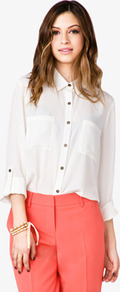 Oversized Chiffon Shirt - neckline: shirt collar/peter pan/zip with opening; pattern: plain; style: shirt; predominant colour: white; occasions: casual, evening, work, holiday; length: standard; fibres: polyester/polyamide - 100%; fit: loose; sleeve length: long sleeve; sleeve style: standard; texture group: sheer fabrics/chiffon/organza etc.; pattern type: fabric