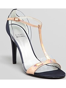 Evening Sandals Sincity T Strap High Heel - predominant colour: gold; occasions: evening, occasion; material: leather; heel height: high; embellishment: buckles; ankle detail: ankle strap; heel: stiletto; toe: open toe/peeptoe; style: strappy; trends: metallics; finish: metallic; pattern: plain