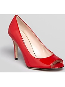 Peep Toe Pumps Stylish High Heel - predominant colour: true red; occasions: casual, evening, work, occasion; material: leather; heel height: high; heel: stiletto; toe: open toe/peeptoe; style: courts; finish: patent; pattern: plain