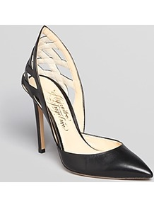Pointed Toe Pumps Athena High Heel - predominant colour: black; occasions: evening, work, occasion; material: leather; heel height: high; heel: stiletto; toe: pointed toe; style: courts; finish: plain; pattern: plain