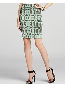 Skirt Scarlett Python Jacquard - style: pencil; fit: tailored/fitted; waist: high rise; secondary colour: dark green; predominant colour: pistachio; occasions: evening, work; length: just above the knee; texture group: crepes; trends: statement prints; pattern type: fabric; pattern size: big & busy; pattern: patterned/print; fibres: nylon - stretch
