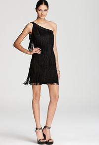 One Shoulder Dress Fringe - length: mid thigh; pattern: plain; sleeve style: sleeveless; style: asymmetric (top); bust detail: added detail/embellishment at bust; neckline: asymmetric; predominant colour: black; occasions: evening, occasion; fit: body skimming; fibres: viscose/rayon - stretch; shoulder detail: asymmetric shoulder detail/one shoulder; sleeve length: sleeveless; texture group: silky - light; pattern type: fabric; embellishment: fringing