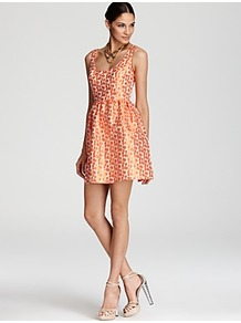 Dress Dot Print Jacquard - length: mid thigh; sleeve style: standard vest straps/shoulder straps; waist detail: fitted waist; back detail: low cut/open back; pattern: polka dot; secondary colour: white; predominant colour: bright orange; occasions: evening, occasion, holiday; fit: fitted at waist & bust; style: fit & flare; neckline: scoop; fibres: polyester/polyamide - 100%; hip detail: ruching/gathering at hip; sleeve length: sleeveless; trends: statement prints; pattern type: fabric; pattern size: small & busy; texture group: brocade/jacquard