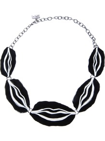 Lips Necklace - secondary colour: black; occasions: casual, evening, work, occasion, holiday; style: choker/collar; length: short; size: standard; material: chain/metal; predominant colour: monochrome; finish: plain; embellishment: chain/metal