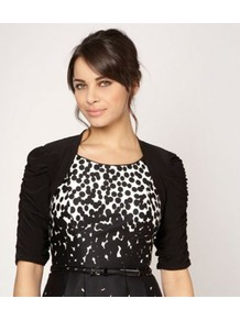 Black Jersey Ruched Sleeve Cover Up - pattern: plain; style: bolero/shrug; length: cropped; neckline: collarless open; predominant colour: black; occasions: casual, evening, occasion; fibres: polyester/polyamide - stretch; fit: slim fit; sleeve length: half sleeve; sleeve style: standard; pattern type: fabric; texture group: jersey - stretchy/drapey