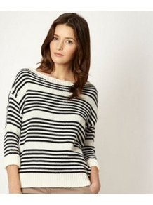 Designer Navy Striped Zip Shoulder Jumper - neckline: slash/boat neckline; pattern: horizontal stripes; style: standard; predominant colour: navy; occasions: casual, work; length: standard; fibres: acrylic - 100%; fit: standard fit; sleeve length: 3/4 length; sleeve style: standard; texture group: knits/crochet; pattern type: knitted - fine stitch; pattern size: small &amp; busy