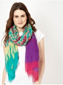 Green Tie Die Scarf - occasions: casual; predominant colour: multicoloured; type of pattern: heavy; style: regular; size: large; material: fabric; embellishment: fringing; pattern: tie dye; trends: statement prints
