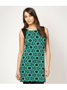 Designer Green Hexagonal Printed Tunic Top - neckline: slash/boat neckline; sleeve style: sleeveless; style: tunic; predominant colour: mint green; secondary colour: black; occasions: casual, evening, holiday; fibres: viscose/rayon - stretch; fit: body skimming; length: mid thigh; back detail: keyhole/peephole detail at back; sleeve length: sleeveless; trends: modern geometrics; pattern type: fabric; pattern size: big &amp; busy; pattern: patterned/print; texture group: jersey - stretchy/drapey