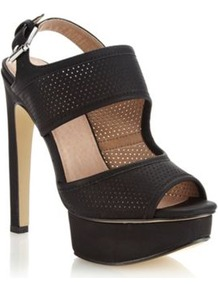 Black Perforated Strapped High Sandals - predominant colour: black; occasions: casual, evening, occasion, holiday; material: faux leather; heel height: high; embellishment: buckles; ankle detail: ankle strap; heel: platform; toe: open toe/peeptoe; style: standard; finish: plain; pattern: plain