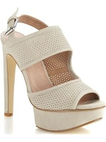 Grey Perforated Strapped High Sandals - predominant colour: light grey; occasions: casual, evening, occasion, holiday; material: faux leather; heel height: high; embellishment: buckles; ankle detail: ankle strap; heel: platform; toe: open toe/peeptoe; style: standard; finish: plain; pattern: plain