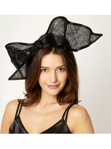 Designer Black Wavy Bow Hair Band - predominant colour: black; occasions: evening, occasion; type of pattern: standard; style: fascinator; size: large; material: sinamay; embellishment: bow; pattern: plain; trends: sculptural frills