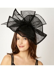Designer Black Split Bow Headband - predominant colour: black; occasions: evening, occasion; type of pattern: standard; style: fascinator; size: large; material: sinamay; embellishment: bow; pattern: plain; trends: sculptural frills