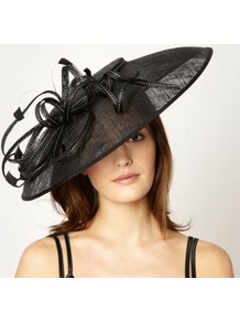 Designer Black Spotted Ribbon Fascinator - predominant colour: black; occasions: evening, occasion; type of pattern: standard; style: fascinator; size: large; material: macrame/raffia/straw; pattern: plain; trends: sculptural frills