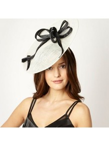 Designer Ivory Stitched Spiral Saucer Headband - predominant colour: ivory; secondary colour: black; occasions: evening, occasion; type of pattern: standard; style: fascinator; size: large; material: sinamay; embellishment: bow; trends: sculptural frills; pattern: colourblock