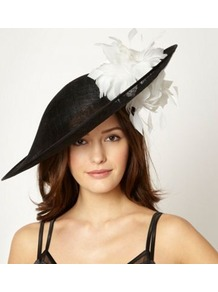Designer Black Feathered Double Flower Fascinator - secondary colour: white; predominant colour: black; occasions: evening, occasion; type of pattern: standard; style: fascinator; size: large; material: macrame/raffia/straw; pattern: plain; embellishment: corsage