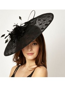 Designer Black Velvet Spotted Saucer Headband - predominant colour: black; occasions: evening, occasion; type of pattern: small; style: fascinator; size: large; material: macrame/raffia/straw; embellishment: feather; pattern: polka dot
