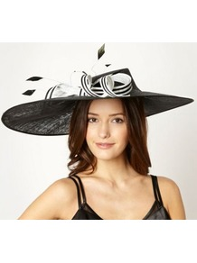 Designer Black Striped Bow Fascinator - secondary colour: white; predominant colour: black; occasions: evening, occasion; type of pattern: light; style: fascinator; size: large; material: sinamay; embellishment: bow; pattern: striped; trends: sculptural frills