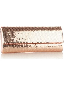 Designer Rose Sequin Clutch Bag - predominant colour: gold; occasions: evening, occasion; type of pattern: standard; style: clutch; length: hand carry; size: small; material: satin; embellishment: sequins; pattern: plain; trends: metallics; finish: metallic