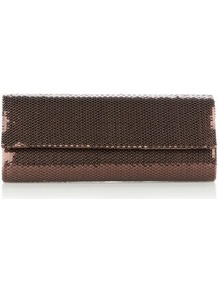 Designer Bronze Sequin Clutch Bag - predominant colour: bronze; occasions: evening, occasion; type of pattern: standard; style: clutch; length: hand carry; size: small; material: satin; embellishment: sequins; pattern: plain; trends: metallics; finish: metallic