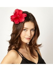 Designer Dark Pink Feather Flower Hair Clip - predominant colour: true red; occasions: evening, occasion; type of pattern: standard; style: fascinator; size: standard; material: fabric; pattern: plain; embellishment: corsage