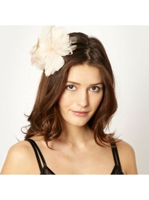 Designer Natural Feather Flower Hair Clip - predominant colour: nude; occasions: evening, occasion; type of pattern: standard; style: fascinator; size: small; material: fabric; pattern: plain; embellishment: corsage