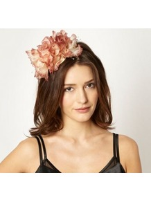 Designer Dark Pink Rose Trio Headband - secondary colour: ivory; occasions: occasion; type of pattern: light; style: fascinator; size: small; material: fabric; pattern: plain; embellishment: corsage; predominant colour: dusky pink