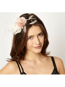 Cream Double Flower Headband - secondary colour: ivory; predominant colour: blush; occasions: occasion; type of pattern: standard; style: fascinator; size: small; material: fabric; pattern: colourblock; embellishment: corsage