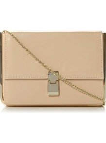 Nude Leather Braizen Metal Detail Structured Clutch Bag - predominant colour: nude; occasions: casual, evening, occasion, holiday; type of pattern: standard; style: clutch; length: hand carry; size: small; material: faux leather; pattern: plain; finish: plain; embellishment: chain/metal