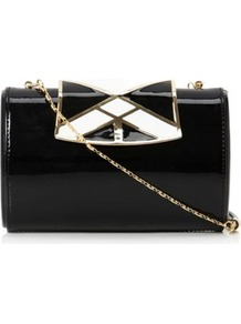 Black Patent Binky Enamel Clasp Clutch Bag - secondary colour: white; predominant colour: black; occasions: evening, occasion; type of pattern: light; style: clutch; length: hand carry; size: mini; material: leather; finish: patent; pattern: colourblock; embellishment: chain/metal