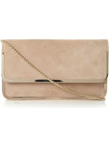 Nude Suede Bavy Fold Over Metal Detail Clutch Bag - predominant colour: nude; occasions: casual, evening, occasion; type of pattern: standard; style: clutch; length: hand carry; size: small; material: suede; pattern: plain; finish: plain; embellishment: chain/metal