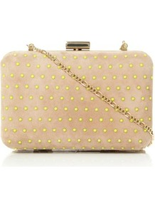 Taupe Suede Blushing Neon Studded Suede Clutch Bag - secondary colour: lime; predominant colour: camel; occasions: evening, occasion; type of pattern: light; style: clutch; length: hand carry; size: small; material: suede; embellishment: studs; pattern: plain; finish: plain