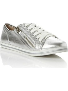 Silver Leather Landscape Metallic Lace Up Trainer - predominant colour: silver; occasions: casual; material: leather; heel height: flat; embellishment: zips; toe: round toe; style: trainers; trends: sporty redux, metallics; finish: metallic; pattern: plain
