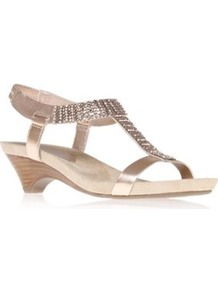 Pink Gladiator Sandals - predominant colour: blush; occasions: casual, evening, occasion, holiday; material: faux leather; heel height: mid; embellishment: crystals; ankle detail: ankle strap; heel: kitten; toe: open toe/peeptoe; style: gladiators; trends: metallics; finish: metallic; pattern: plain