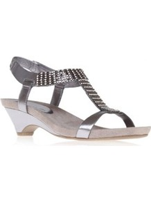 Pewter Gladiator Sandals - predominant colour: silver; occasions: casual, evening, holiday; material: faux leather; heel height: mid; embellishment: crystals; ankle detail: ankle strap; heel: cone; toe: open toe/peeptoe; style: gladiators; trends: metallics; finish: metallic; pattern: plain
