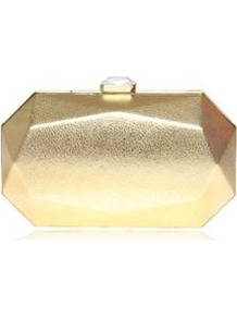 Le Club Minaud Gold Clutch Bag - predominant colour: gold; occasions: evening, occasion; type of pattern: standard; style: clutch; length: hand carry; size: small; material: faux leather; pattern: plain; trends: metallics; finish: metallic