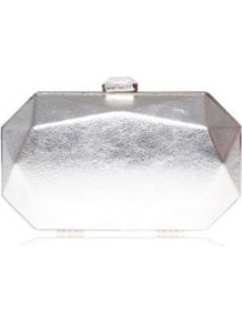 Le Club Minaud Silver Clutch Bag - predominant colour: silver; occasions: evening, occasion; type of pattern: standard; style: clutch; length: hand carry; size: small; material: faux leather; pattern: plain; trends: metallics; finish: metallic