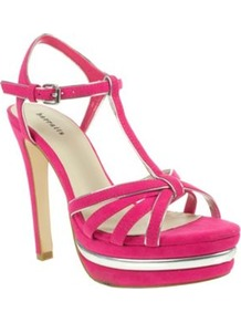 Pink T Bar Platform Sandals - predominant colour: hot pink; occasions: casual, evening, occasion, holiday; material: fabric; heel height: high; embellishment: buckles; ankle detail: ankle strap; heel: platform; toe: open toe/peeptoe; style: strappy; finish: plain; pattern: plain
