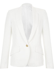 Linen Drill Blazer - pattern: plain; style: single breasted blazer; collar: standard lapel/rever collar; predominant colour: white; occasions: casual, evening, work, occasion; length: standard; fit: tailored/fitted; fibres: linen - mix; waist detail: fitted waist; back detail: back vent/flap at back; sleeve length: long sleeve; sleeve style: standard; texture group: linen; collar break: low/open; pattern type: fabric