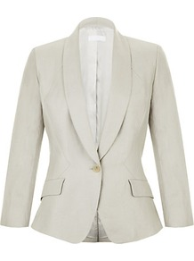 Ruffle Back Jacket - pattern: plain; style: single breasted blazer; collar: shawl/waterfall; predominant colour: stone; occasions: casual, evening, work, occasion; length: standard; fit: tailored/fitted; fibres: linen - mix; waist detail: fitted waist; sleeve length: long sleeve; sleeve style: standard; texture group: linen; trends: tuxedo; collar break: medium; pattern type: fabric; pattern size: standard