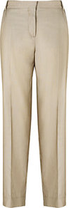 Giunto Trousers - pattern: plain; waist: mid/regular rise; predominant colour: champagne; occasions: evening, work; length: ankle length; fibres: cotton - mix; fit: straight leg; pattern type: fabric; texture group: woven light midweight; style: standard