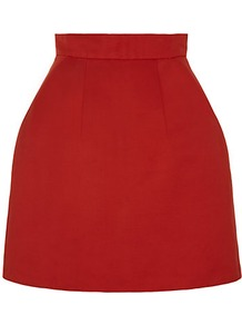 Bell Faille Skirt - length: mid thigh; pattern: plain; fit: tailored/fitted; waist detail: fitted waist; waist: high rise; predominant colour: true red; occasions: casual, evening, work; style: a-line; fibres: cotton - mix; texture group: crepes; pattern type: fabric