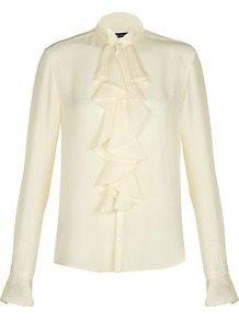 Janelle Blouse - pattern: plain; neckline: high neck; style: blouse; predominant colour: ivory; occasions: casual, evening, work; length: standard; fibres: silk - 100%; fit: straight cut; sleeve length: long sleeve; sleeve style: standard; texture group: sheer fabrics/chiffon/organza etc.; bust detail: tiers/frills/bulky drapes/pleats; pattern type: fabric