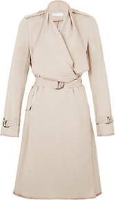 Lightweight Trench - pattern: plain; shoulder detail: obvious epaulette; hip detail: side pockets at hip; collar: shawl/waterfall; style: trench coat; fit: slim fit; length: mid thigh; predominant colour: stone; occasions: casual, work; fibres: polyester/polyamide - mix; waist detail: belted waist/tie at waist/drawstring; sleeve length: long sleeve; sleeve style: standard; collar break: high; pattern type: fabric; texture group: other - light to midweight