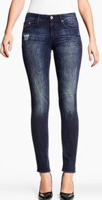 Slim Regular Jeans - style: skinny leg; length: standard; pattern: plain; pocket detail: traditional 5 pocket; waist: mid/regular rise; predominant colour: navy; occasions: casual; fibres: cotton - stretch; jeans detail: whiskering, shading down centre of thigh; texture group: denim; pattern type: fabric