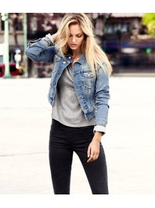 Denim Jacket - pattern: plain; style: denim; fit: slim fit; predominant colour: denim; occasions: casual, holiday; length: standard; fibres: cotton - stretch; collar: shirt collar/peter pan/zip with opening; sleeve length: long sleeve; sleeve style: standard; texture group: denim; collar break: high; pattern type: fabric; pattern size: standard