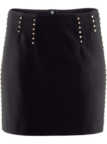 Skirt - length: mini; style: straight; fit: tailored/fitted; waist detail: embellishment at waist/feature waistband; waist: mid/regular rise; predominant colour: black; occasions: evening, work; fibres: polyester/polyamide - 100%; hip detail: added detail/embellishment at hip; pattern type: fabric; pattern size: small & light; texture group: other - light to midweight; embellishment: beading