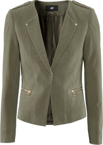 Jacket - pattern: plain; style: single breasted blazer; shoulder detail: obvious epaulette; fit: slim fit; collar: standard lapel/rever collar; predominant colour: khaki; occasions: casual, work; length: standard; fibres: cotton - stretch; waist detail: fitted waist; sleeve length: long sleeve; sleeve style: standard; texture group: crepes; collar break: low/open; pattern type: fabric