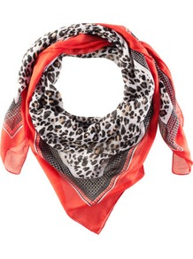 Scarf - predominant colour: true red; occasions: casual, work; type of pattern: standard; style: square; size: standard; material: fabric; pattern: animal print